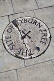 Platta för Tyburn Tree (galge) i London Arkivfoto