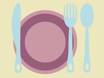 Platta, gaffel, kniv och sked Royaltyfri Foto