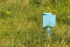 Platta (ID-Märke) av stål målat ljus - blått Ingen inskrift A Royaltyfri Foto