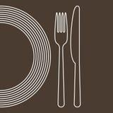 Platta, kniv och gaffel royaltyfri illustrationer
