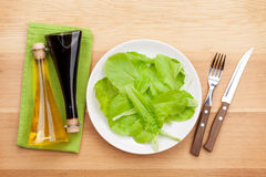 Platta med den nya sallad, smaktillsatser, kniven och gaffeln banta mat Arkivbild