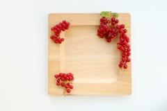 Platta med den röda vinbäret arkivbild