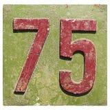 Platta med ett nummer 75 Royaltyfri Fotografi