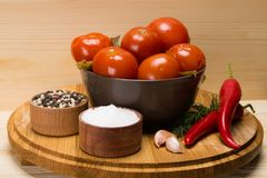 platta med rimmade tomater bredvid kryddor för marinad, salt, peppar och ärligt Royaltyfria Bilder