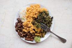 Platta med strikt vegetarianmål i den Bali caffeen Arkivfoto