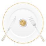 Platta- och för euro två mynt vektor illustrationer