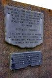 Platta på den tidigare Marconi platsen Arkivfoto