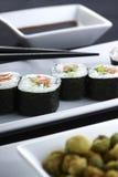 platta tjänade som sushi Arkivbild