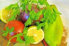 Plattan av mat för strikt vegetarian royaltyfri bild