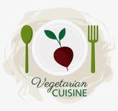 Plattan och skeden för organisk mat för kokkonst för beta dela sig den vegetariska royaltyfri illustrationer