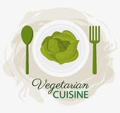 Plattan och skeden för organisk mat för kokkonst för grönsallat dela sig den vegetariska royaltyfri illustrationer