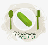 Plattan och skeden för organisk mat för kokkonst för gurka dela sig den vegetariska stock illustrationer