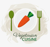 Plattan och skeden för organisk mat för kokkonst för morot dela sig den vegetariska stock illustrationer