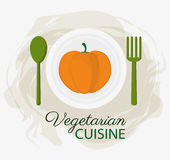 Plattan och skeden för organisk mat för kokkonst för pumpa dela sig den vegetariska vektor illustrationer