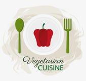 Plattan och skeden för organisk mat för kokkonst för röd peppar dela sig den vegetariska stock illustrationer