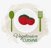Plattan och skeden för organisk mat för kokkonst för tomater dela sig den vegetariska stock illustrationer