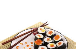 plattan rullar sushiwhite Arkivfoton