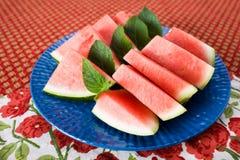 plattan skivar vattenmelonen Royaltyfri Bild