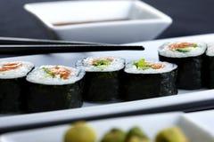 plattan tjänade som sushi Royaltyfri Foto