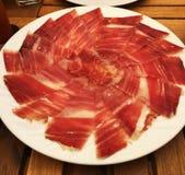 Plattaskinka jabugo Spanien Arkivbilder
