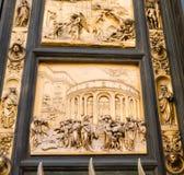 Platte auf Osttür des Baptistery in Florenz, Italien Lizenzfreie Stockfotos