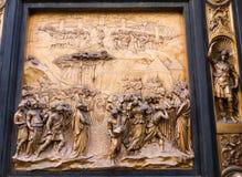 Platte auf Osttür des Baptistery in Florenz, Italien Lizenzfreies Stockfoto