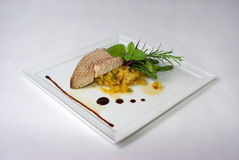 Platte der feinen speisenden Mahlzeit Stockbilder