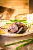 Platte der geräucherten Makrele Lizenzfreies Stockfoto
