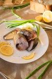 Platte der geräucherten Makrele Stockfoto