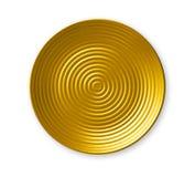 Platte der konzentrischen Kreise, leere gelbe keramische Platte im gewellten Profil, Ansicht von oben lokalisiert auf weißem Hint lizenzfreies stockfoto