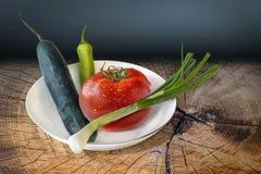 Platte des Frühlings-Gemüses auf altem hölzernem gebrochenem Metzger Block Stockfotografie