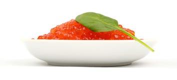 Platte des roten Kaviars Stockfoto