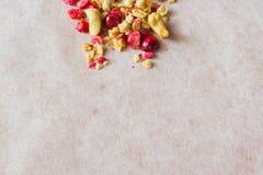 Platte des selbst gemachten muesli mit Corn-Flakes, gefriertrocknete Moosbeere, Acajoubaum, kandierte Frucht, Rosinen Lizenzfreie Stockbilder