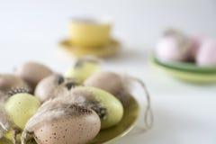Platte mit beige, rosa und gelben Ostereiern, gegen farbigen Pastellhintergrund der Unschärfe lizenzfreies stockbild