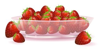 Platte mit Erdbeeren Stockfotografie
