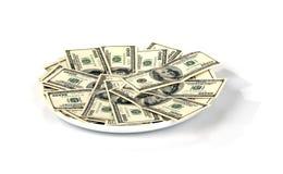 Platte mit Geld Lizenzfreie Stockfotos