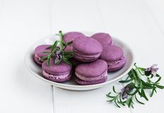 Platte mit Lavendel macarons Stockfotos