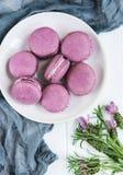 Platte mit Lavendel macarons Stockfotografie