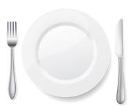 Platte mit Messer und Gabel Stockbilder