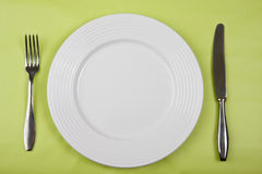 Platte mit Messer und Gabel Stockfotografie