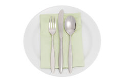Platte mit Tischbesteck und Serviette Stockbild