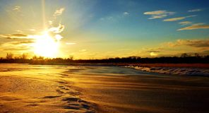 Platte River congelado Fotografia de Stock Royalty Free