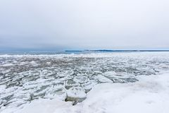 Platte River with Pancake Ice Royalty Free Stock Photos
