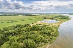 Platte rzeka w Nebraska - widok z lotu ptaka zdjęcia stock