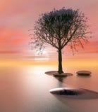 Platte-Strand-Fantasie-Insel stock abbildung