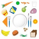 Platte und Nahrung Stockfotos