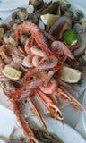 Platte von unterschiedlichen Meeresfrüchten Stockfotografie