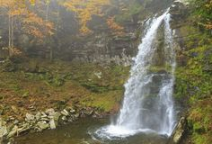 Plattekill Falls in Misty Ravine Royalty Free Stock Photo