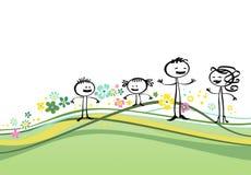 Platteland en familie Stock Illustratie