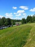 Platteland en heldere lucht Stock Afbeelding